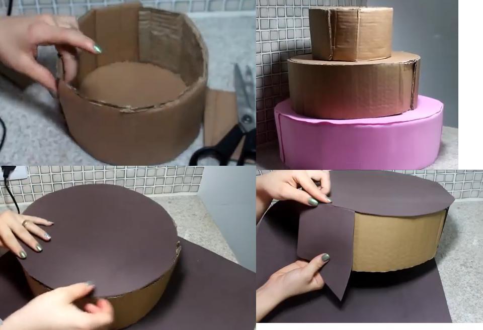 Pastel falso para cumplea os con foami goma eva for Materiales para hacer un piso