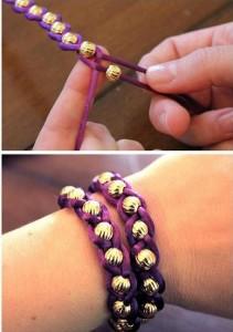 brazalete pulsera macrame perlas