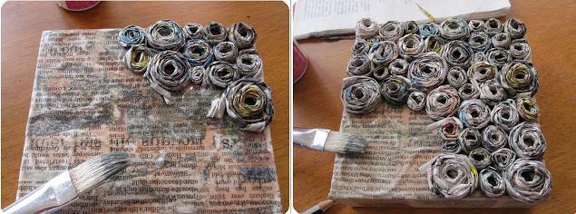 Reciclaje De Papel Periodico Cuadro De Rosas