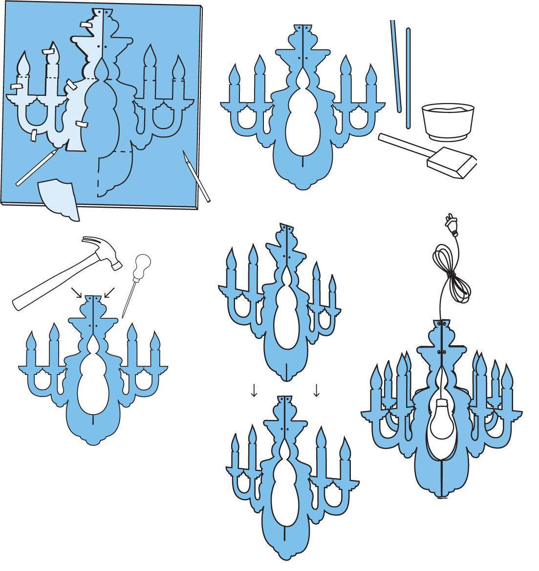 L mpara candelabro para fiestas tutorial y patrones - Plantillas para la pared ...