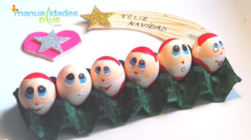 Adorno navidad con reciclaje de huevos - Adornos navidad reciclados para ninos ...