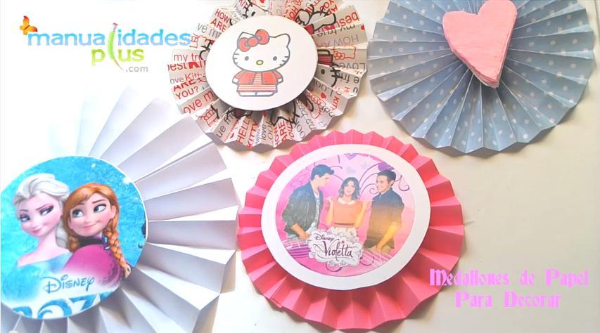 Medallones De Papel De Violetta Frozen Hello Kity Baby Shower - Adornos-de-papel-para-cumpleaos
