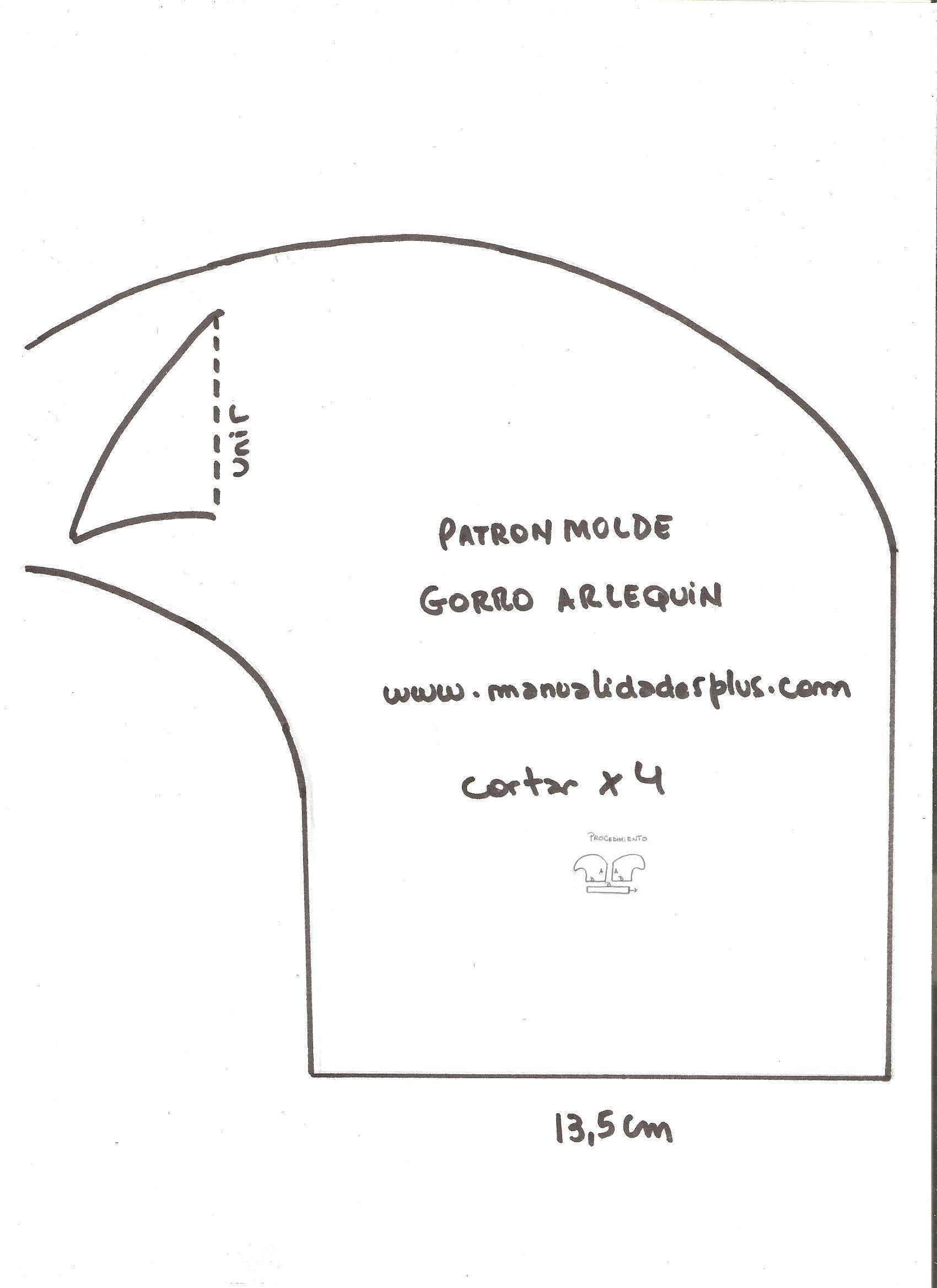 Gorros para Fiestas Patrones Moldes Arlequin 6054c4e7118