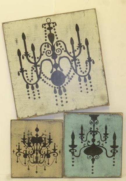 cuadros vintage con stencil candelabros lamparas