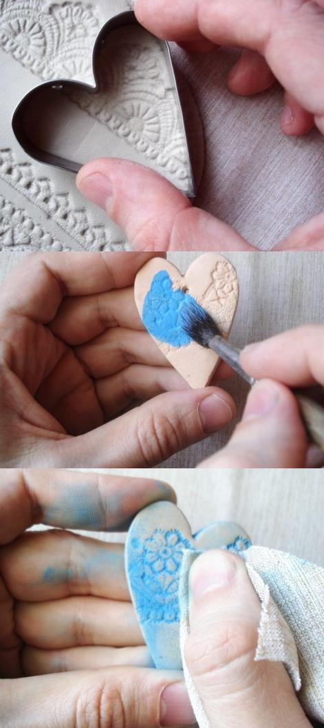 estampar ceramica porcelana corazon texturado 3