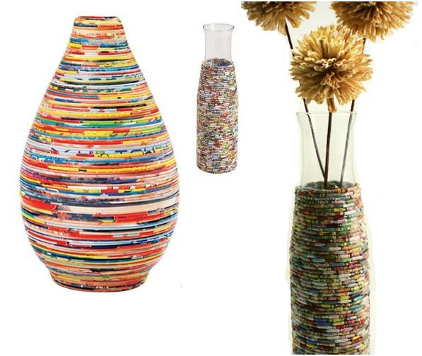 Manualidades con papel reciclado floreros jarron paso a paso - Manualidades de papel para decorar ...