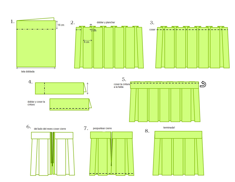 f3c377fbd7 Como hacer una Falda Tableada Uniforme Escolar