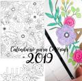 Calendario 2019 para Colorear Gratis