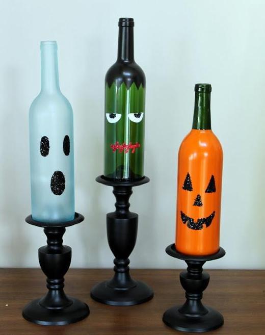 decoracion botellas halloween