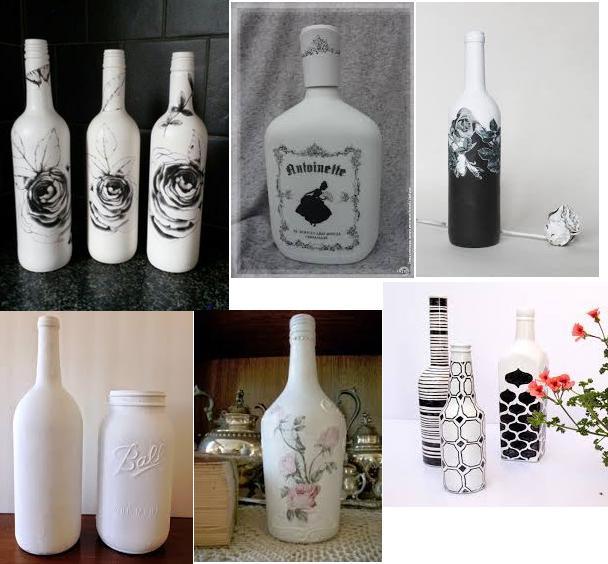 botellas blancas decoupage fotocopias 1