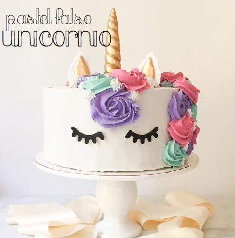 pastel torta falso unicornio